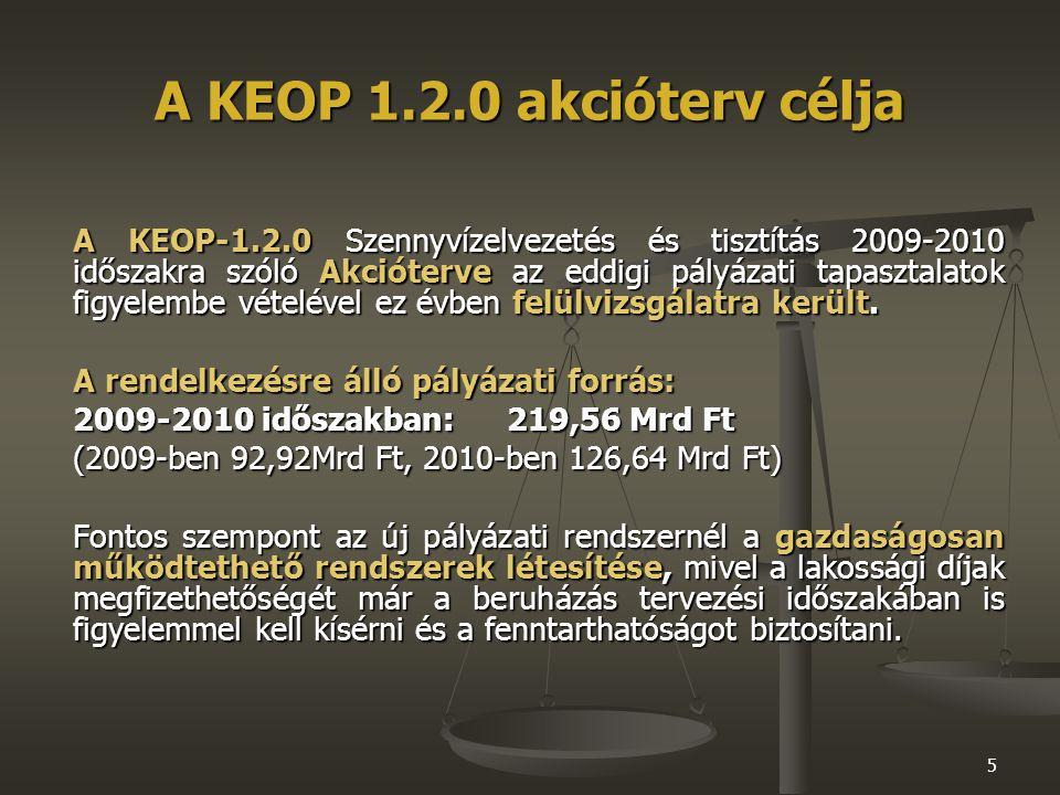 5 A KEOP 1.2.0 akcióterv célja A KEOP-1.2.0 Szennyvízelvezetés és tisztítás 2009-2010 időszakra szóló Akcióterve az eddigi pályázati tapasztalatok figyelembe vételével ez évben felülvizsgálatra került.