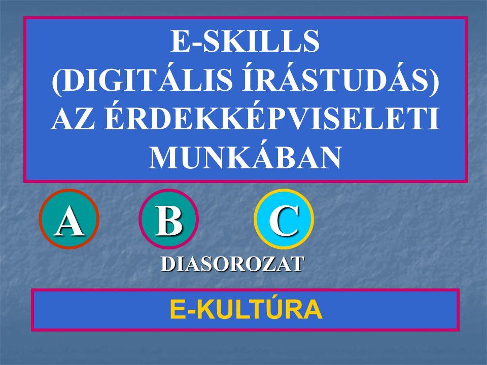 E-SKILLS (DIGITÁLIS ÍRÁSTUDÁS) AZ ÉRDEKKÉPVISELETI MUNKÁBAN E-KULTÚRA ABC DIASOROZAT