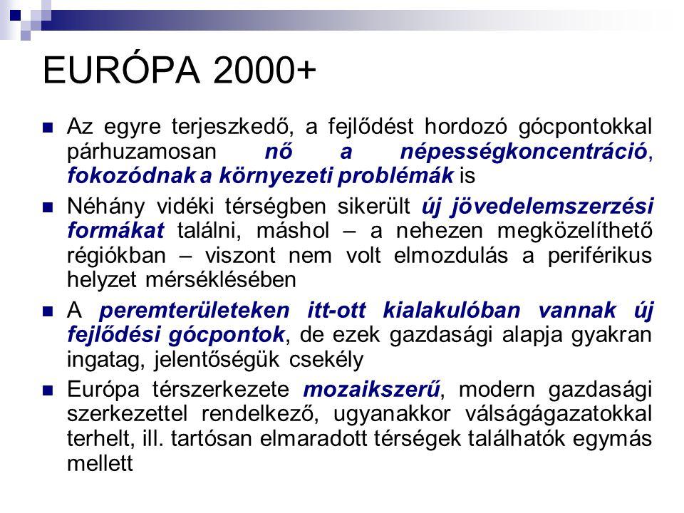 EURÓPA 2000+ Az egyre terjeszkedő, a fejlődést hordozó gócpontokkal párhuzamosan nő a népességkoncentráció, fokozódnak a környezeti problémák is Néhán