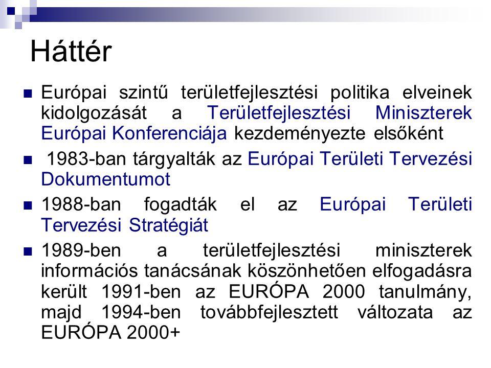 Háttér Európai szintű területfejlesztési politika elveinek kidolgozását a Területfejlesztési Miniszterek Európai Konferenciája kezdeményezte elsőként 1983-ban tárgyalták az Európai Területi Tervezési Dokumentumot 1988-ban fogadták el az Európai Területi Tervezési Stratégiát 1989-ben a területfejlesztési miniszterek információs tanácsának köszönhetően elfogadásra került 1991-ben az EURÓPA 2000 tanulmány, majd 1994-ben továbbfejlesztett változata az EURÓPA 2000+