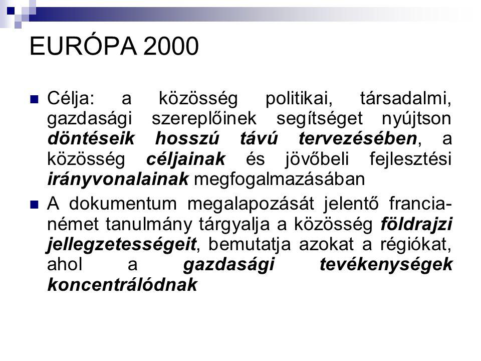 EURÓPA 2000 Célja: a közösség politikai, társadalmi, gazdasági szereplőinek segítséget nyújtson döntéseik hosszú távú tervezésében, a közösség céljainak és jövőbeli fejlesztési irányvonalainak megfogalmazásában A dokumentum megalapozását jelentő francia- német tanulmány tárgyalja a közösség földrajzi jellegzetességeit, bemutatja azokat a régiókat, ahol a gazdasági tevékenységek koncentrálódnak