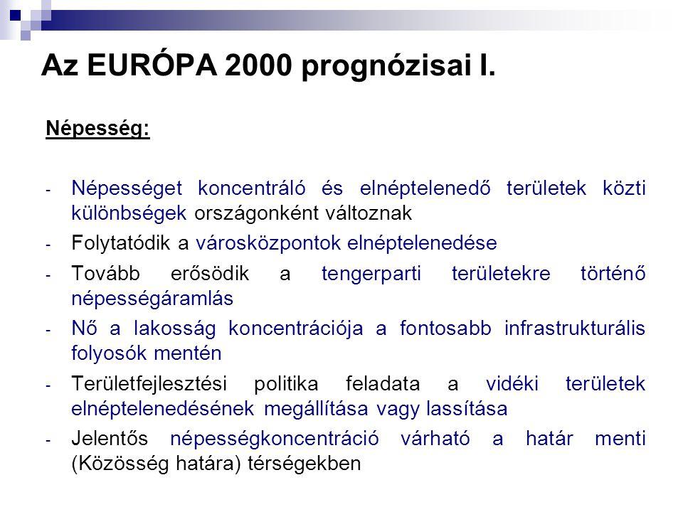 Az EURÓPA 2000 prognózisai I. Népesség: - Népességet koncentráló és elnéptelenedő területek közti különbségek országonként változnak - Folytatódik a v