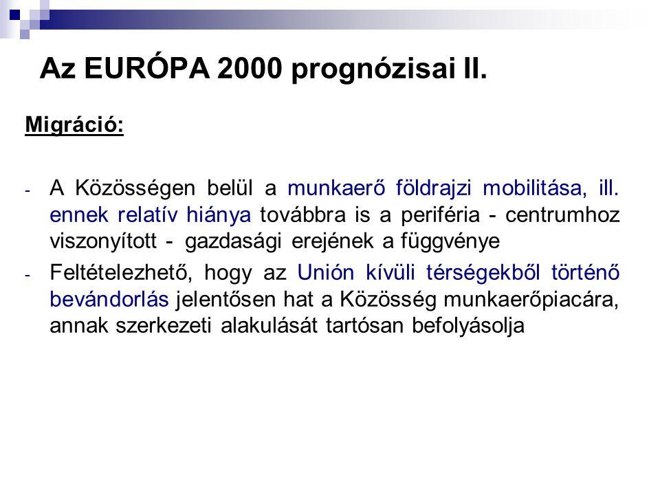 Az EURÓPA 2000 prognózisai II. Migráció: - A Közösségen belül a munkaerő földrajzi mobilitása, ill. ennek relatív hiánya továbbra is a periféria - cen