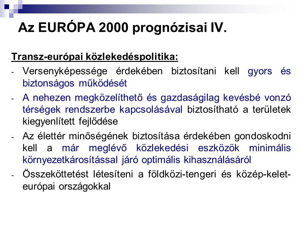 Az EURÓPA 2000 prognózisai IV. Transz-európai közlekedéspolitika: - Versenyképessége érdekében biztosítani kell gyors és biztonságos működését - A neh