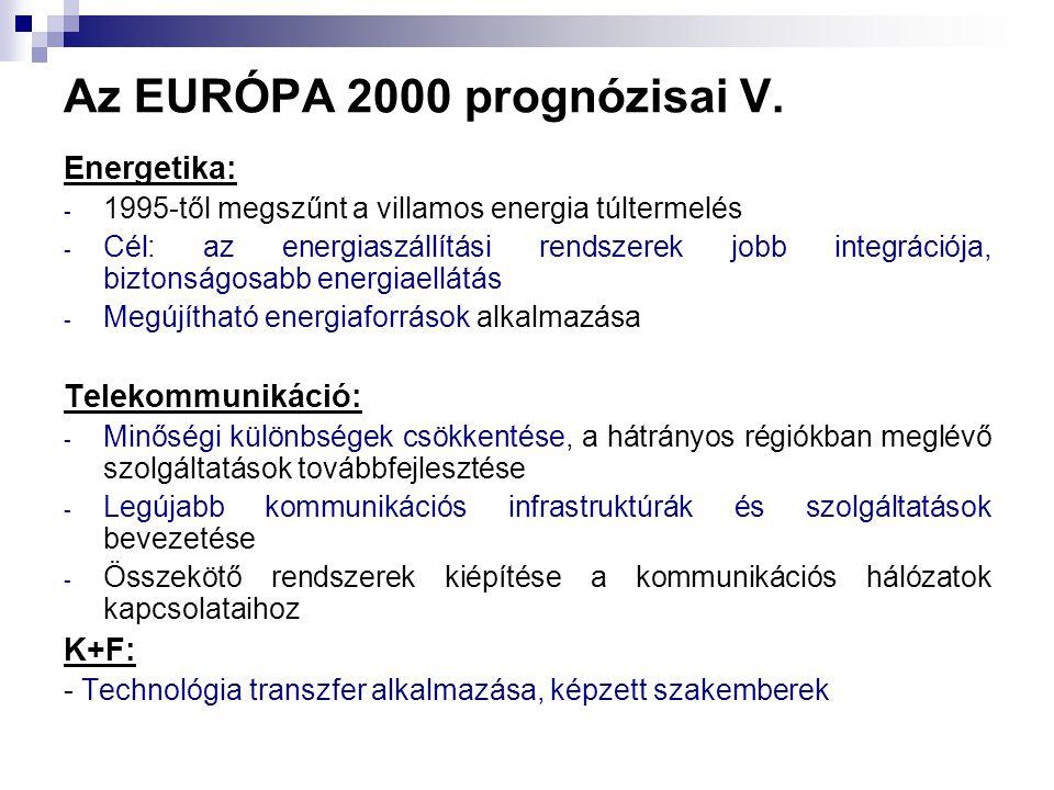 Az EURÓPA 2000 prognózisai V. Energetika: - 1995-től megszűnt a villamos energia túltermelés - Cél: az energiaszállítási rendszerek jobb integrációja,