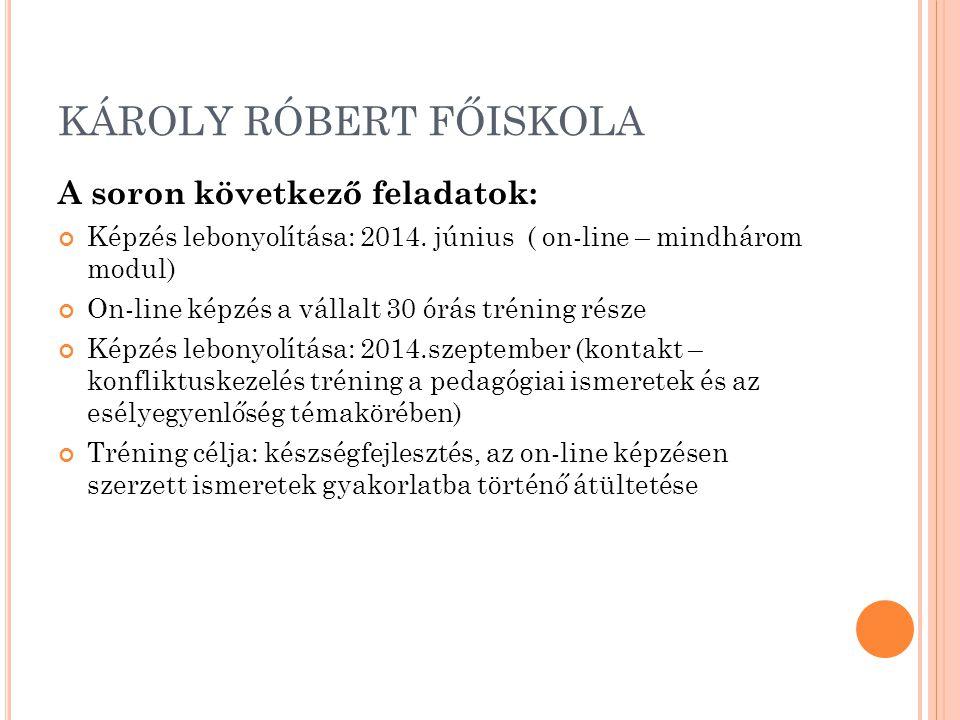 KÁROLY RÓBERT FŐISKOLA A soron következő feladatok: Képzés lebonyolítása: 2014. június ( on-line – mindhárom modul) On-line képzés a vállalt 30 órás t