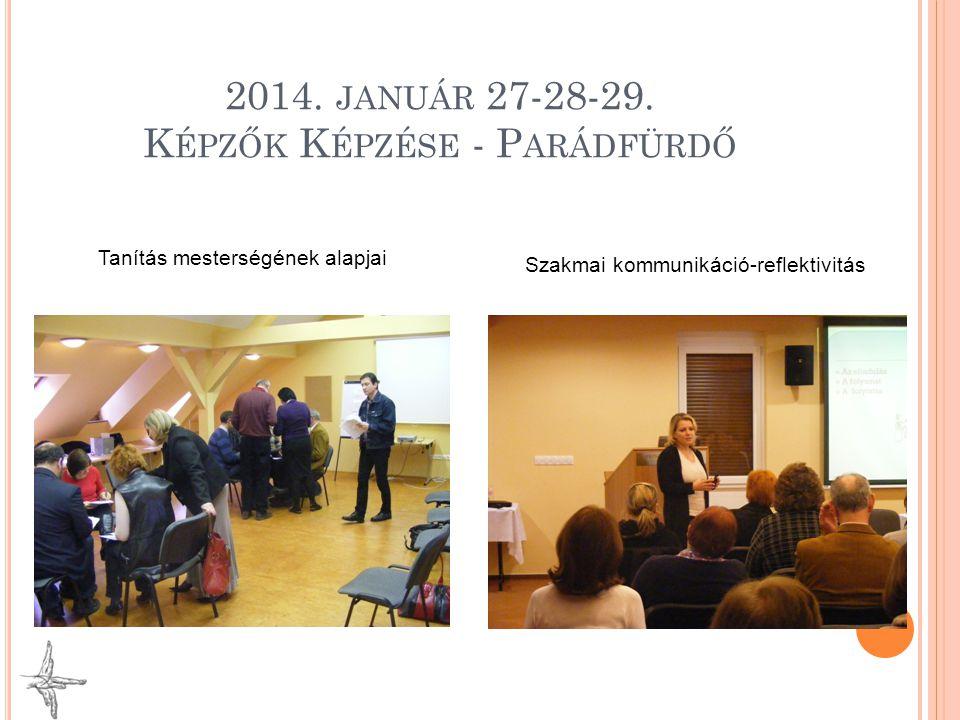 2014. JANUÁR 27-28-29. K ÉPZŐK K ÉPZÉSE - P ARÁDFÜRDŐ Tanítás mesterségének alapjai Szakmai kommunikáció-reflektivitás