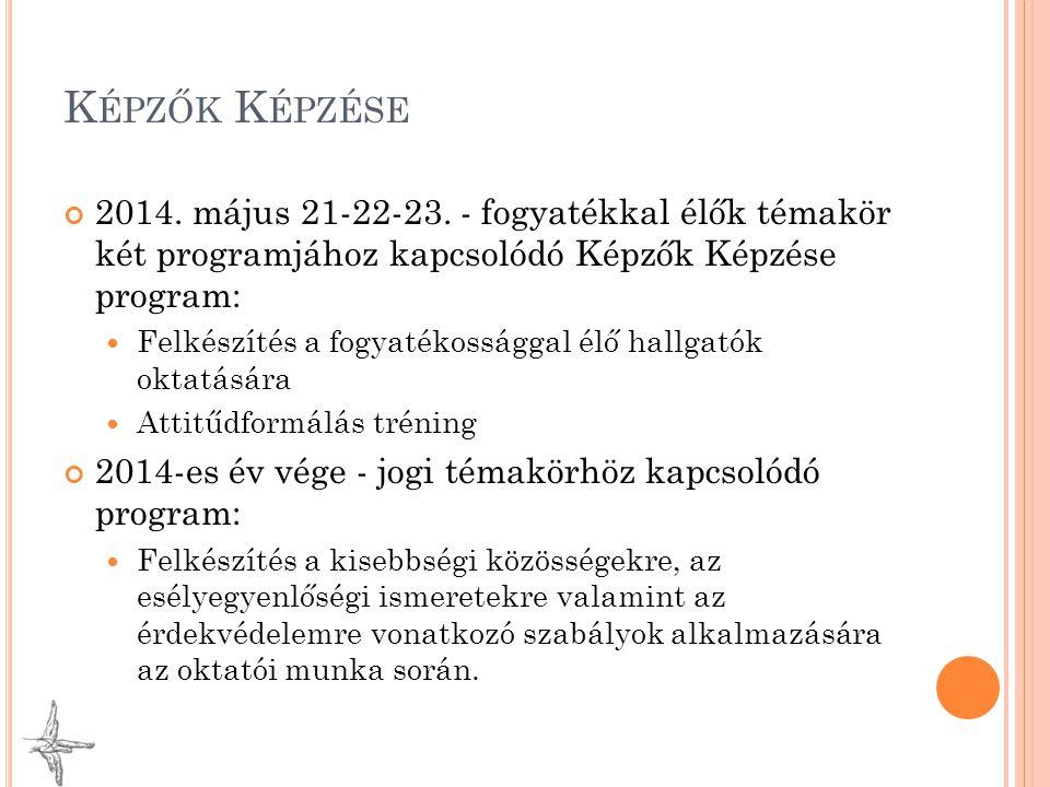 K ÉPZŐK K ÉPZÉSE 2014. május 21-22-23. - fogyatékkal élők témakör két programjához kapcsolódó Képzők Képzése program: Felkészítés a fogyatékossággal é