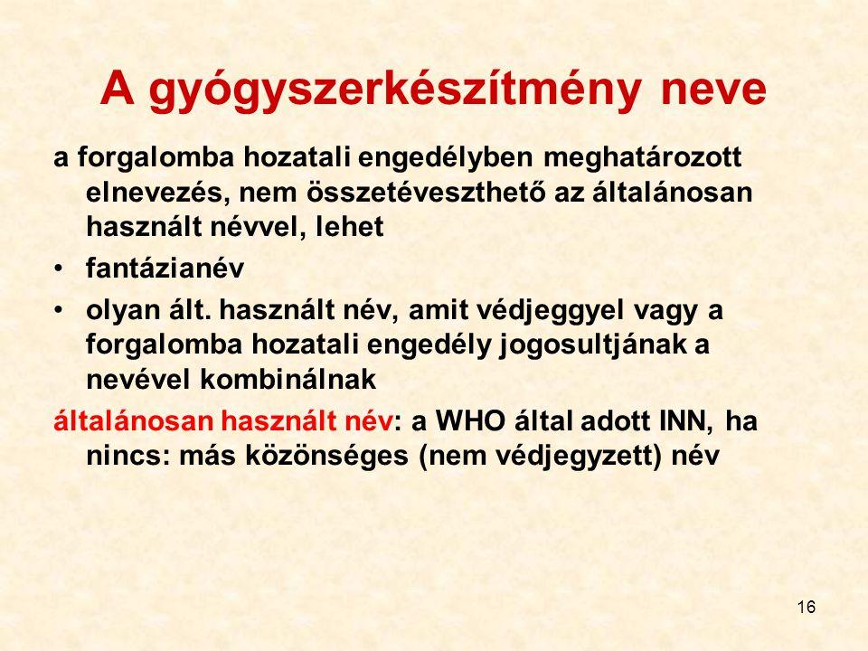 16 A gyógyszerkészítmény neve a forgalomba hozatali engedélyben meghatározott elnevezés, nem összetéveszthető az általánosan használt névvel, lehet fa