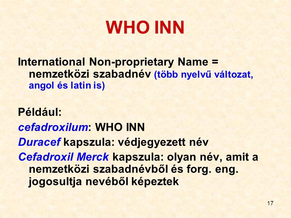 17 WHO INN International Non-proprietary Name = nemzetközi szabadnév (több nyelvű változat, angol és latin is) Például: cefadroxilum: WHO INN Duracef kapszula: védjegyezett név Cefadroxil Merck kapszula: olyan név, amit a nemzetközi szabadnévből és forg.