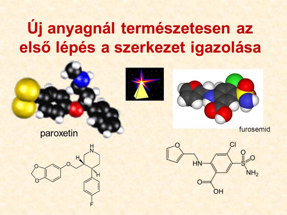 20 Új anyagnál természetesen az első lépés a szerkezet igazolása furosemid SO 2 NH 2 HOOC Cl NH-CH 2 O paroxetin furosemid