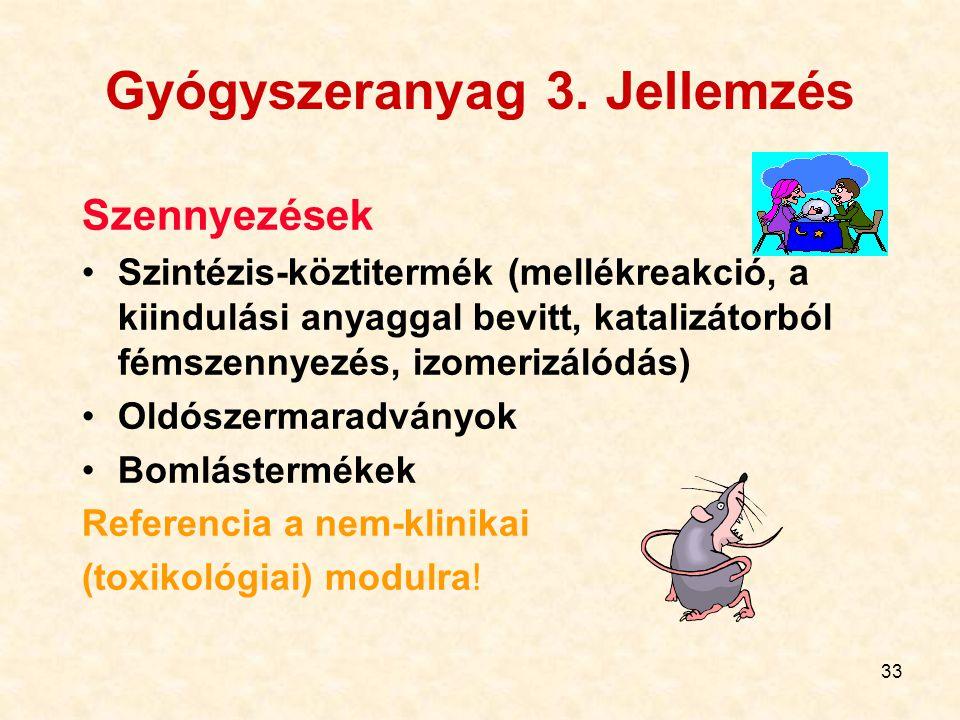 33 Gyógyszeranyag 3. Jellemzés Szennyezések Szintézis-köztitermék (mellékreakció, a kiindulási anyaggal bevitt, katalizátorból fémszennyezés, izomeriz