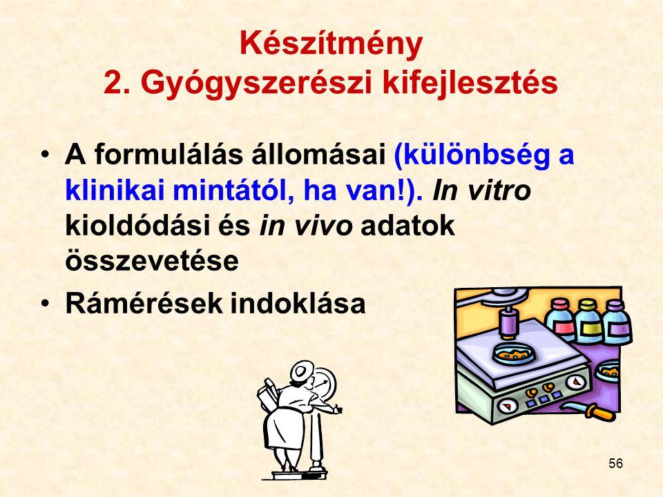 56 Készítmény 2. Gyógyszerészi kifejlesztés A formulálás állomásai (különbség a klinikai mintától, ha van!). In vitro kioldódási és in vivo adatok öss