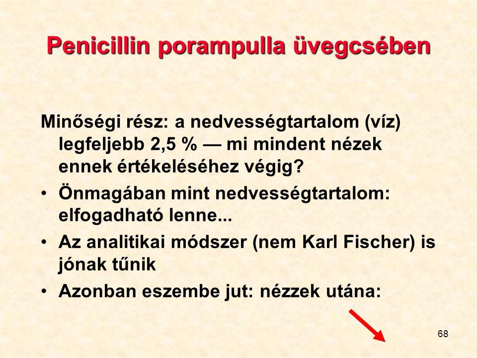 68 Penicillin porampulla üvegcsében Minőségi rész: a nedvességtartalom (víz) legfeljebb 2,5 % — mi mindent nézek ennek értékeléséhez végig.