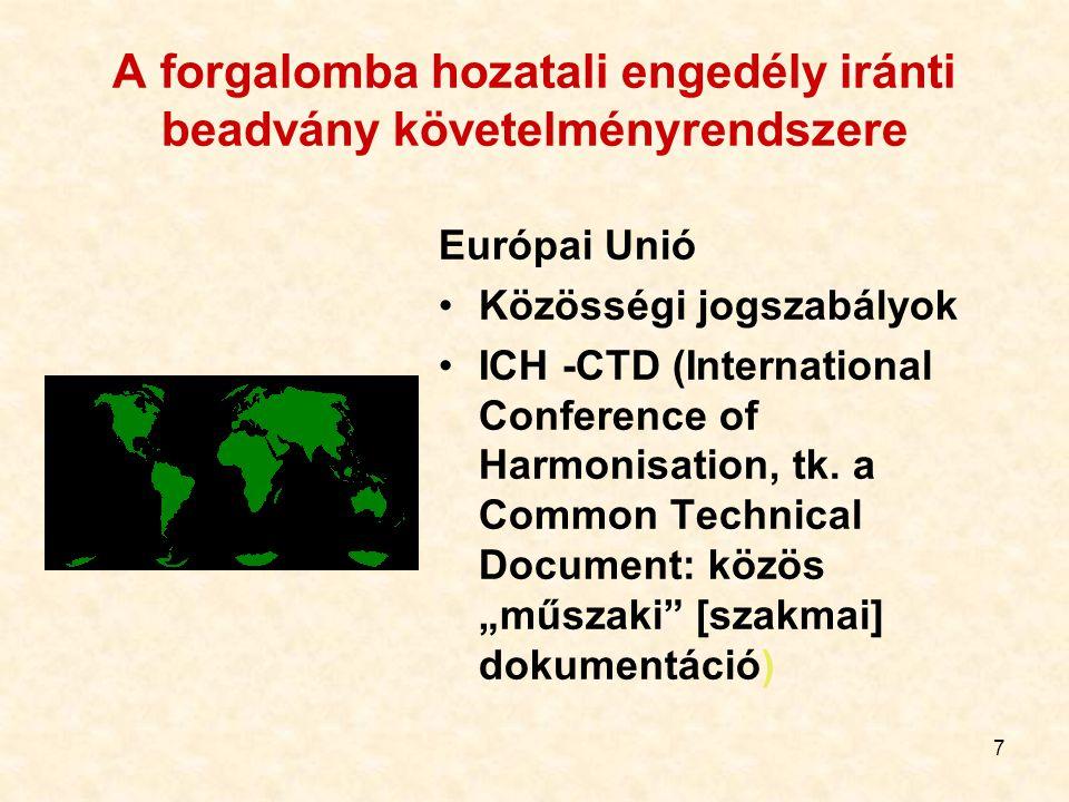 7 A forgalomba hozatali engedély iránti beadvány követelményrendszere Európai Unió Közösségi jogszabályok ICH -CTD (International Conference of Harmonisation, tk.