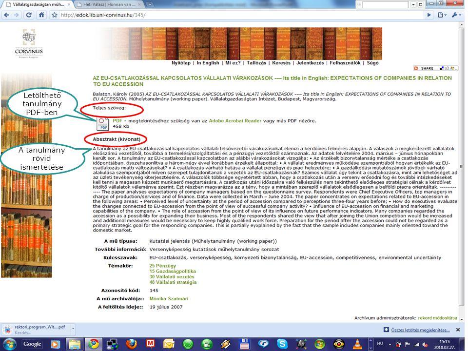 E-folyóiratok Letölthető tanulmány PDF-ben A tanulmány rövid ismertetése