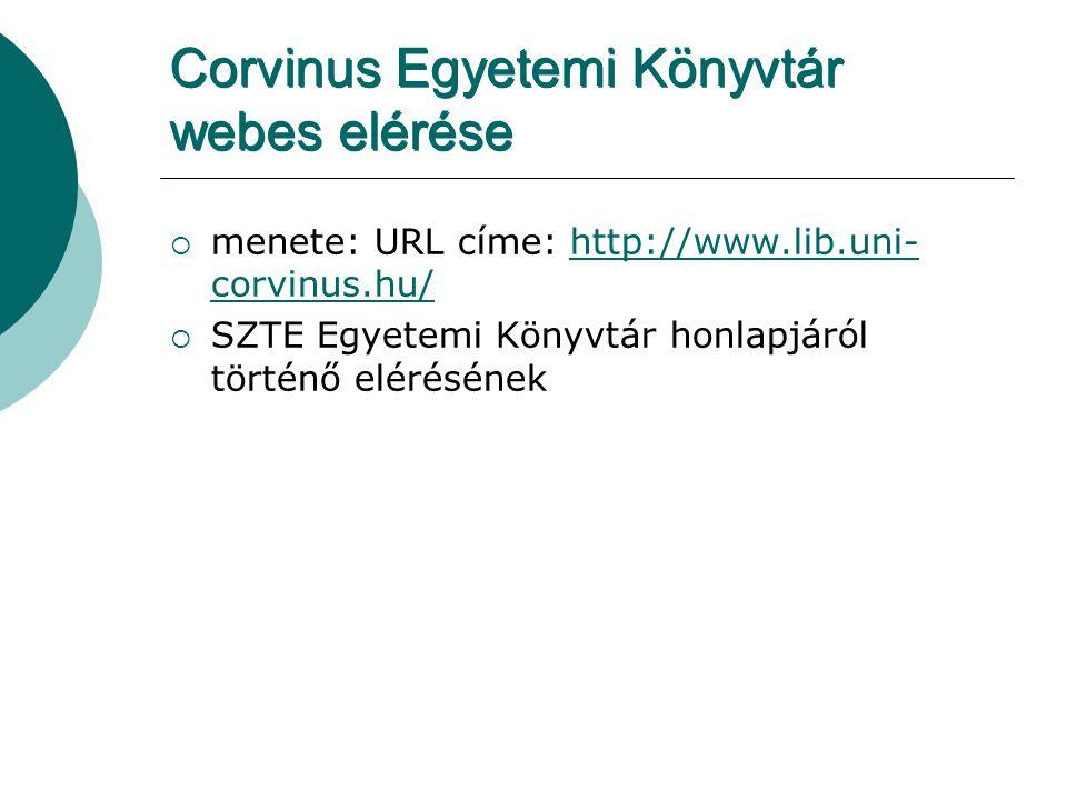 Corvinus Egyetemi Könyvtár webes elérése  menete: URL címe: http://www.lib.uni- corvinus.hu/http://www.lib.uni- corvinus.hu/  SZTE Egyetemi Könyvtár
