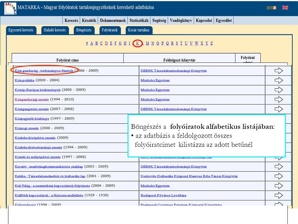 Böngészés a folyóiratok alfabetikus listájában: az adatbázis a feldolgozott összes folyóiratcímet kilistázza az adott betűnél