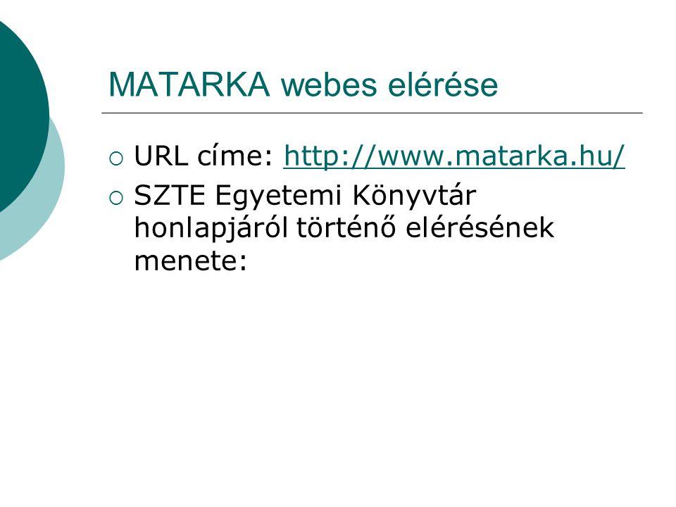 MATARKA webes elérése  URL címe: http://www.matarka.hu/http://www.matarka.hu/  SZTE Egyetemi Könyvtár honlapjáról történő elérésének menete: