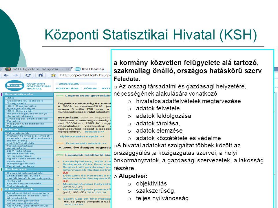 Központi Statisztikai Hivatal (KSH) a kormány közvetlen felügyelete alá tartozó, szakmailag önálló, országos hatáskörű szerv Feladata: o Az ország tár