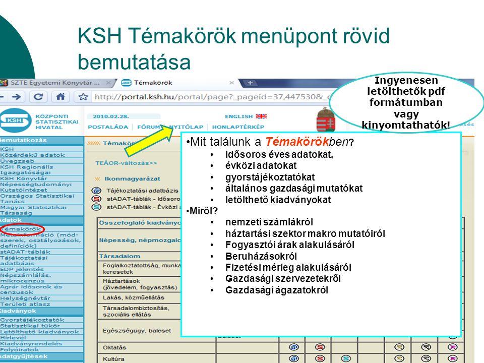 KSH Témakörök menüpont rövid bemutatása Mit találunk a Témakörökben ? idősoros éves adatokat, évközi adatokat gyorstájékoztatókat általános gazdasági