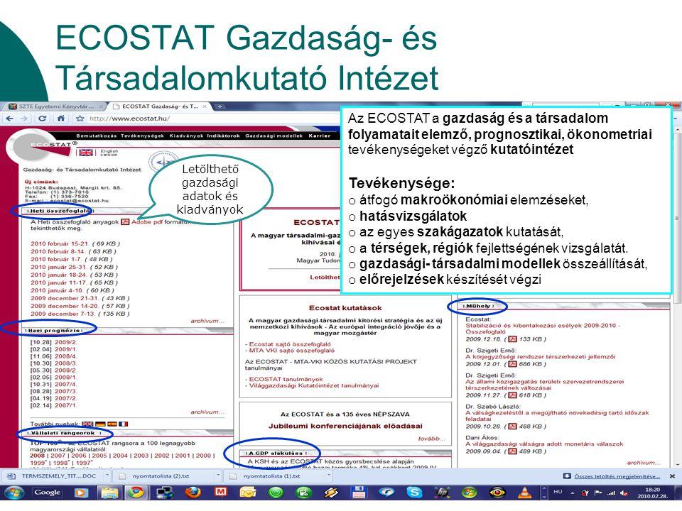 ECOSTAT Gazdaság- és Társadalomkutató Intézet Az ECOSTAT a gazdaság és a társadalom folyamatait elemző, prognosztikai, ökonometriai tevékenységeket vé