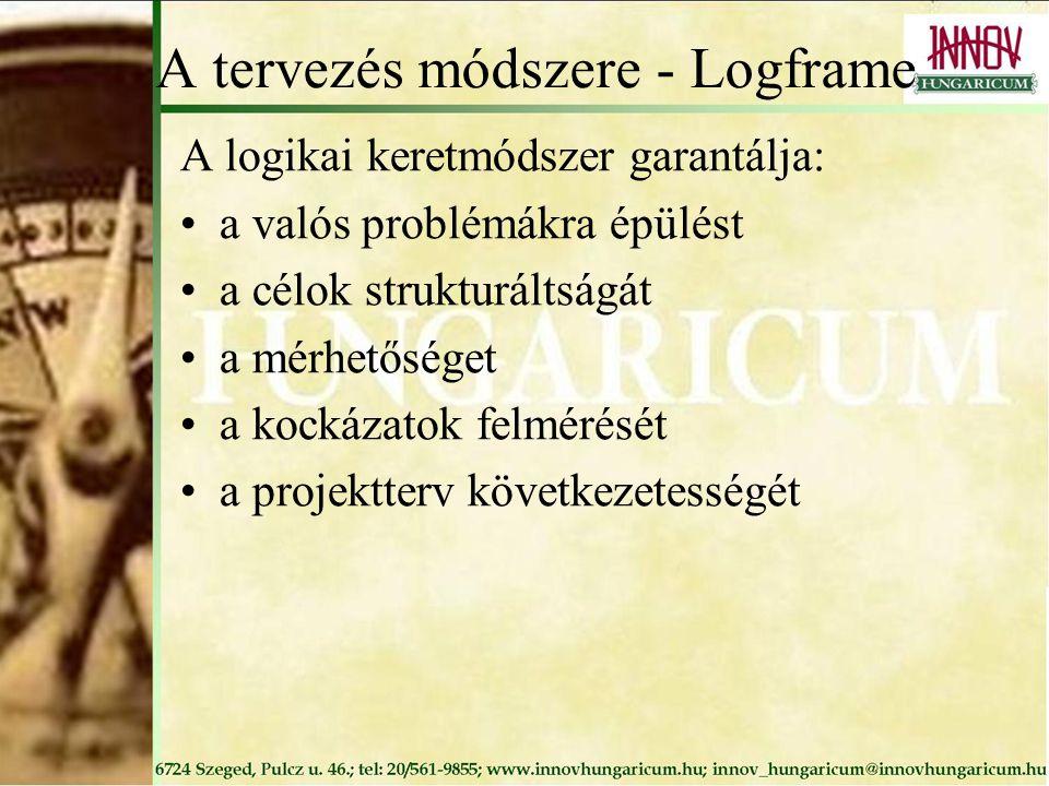 A tervezés módszere - Logframe A logikai keretmódszer garantálja: a valós problémákra épülést a célok strukturáltságát a mérhetőséget a kockázatok felmérését a projektterv következetességét