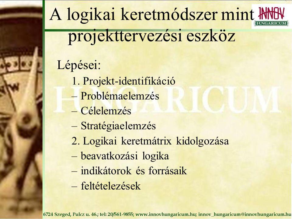 A logikai keretmódszer mint projekttervezési eszköz Lépései: 1. Projekt-identifikáció –Problémaelemzés –Célelemzés –Stratégiaelemzés 2. Logikai keretm