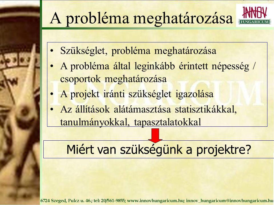 A probléma meghatározása Szükséglet, probléma meghatározása A probléma által leginkább érintett népesség / csoportok meghatározása A projekt iránti sz
