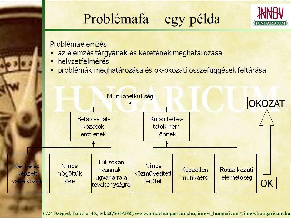 Problémafa – egy példa Problémaelemzés  az elemzés tárgyának és keretének meghatározása  helyzetfelmérés  problémák meghatározása és ok-okozati összefüggések feltárása OK OKOZAT