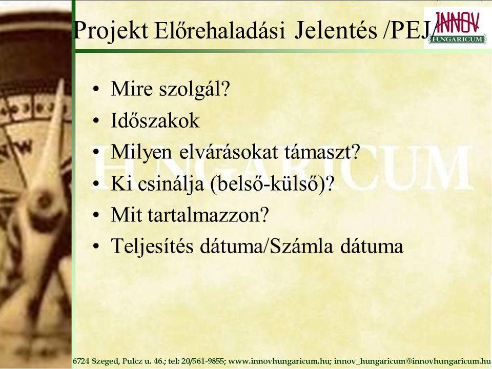 Projekt Előrehaladási Jelentés /PEJ/ Mire szolgál? Időszakok Milyen elvárásokat támaszt? Ki csinálja (belső-külső)? Mit tartalmazzon? Teljesítés dátum