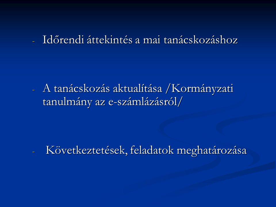 Időrendi áttekintés a mai tanácskozáshoz - 2001év törvény a digitális aláírásról - 2001év törvény a digitális aláírásról - 2002 Matáv, Axelero, Koping-datorg, Euroexpert közös munka eredménye: elindult a magyarországi e-számlázás - 2002 Matáv, Axelero, Koping-datorg, Euroexpert közös munka eredménye: elindult a magyarországi e-számlázás - 2003 már négy minősített hitelesítő központ várja az elektronikus számlázás résztvevőit - 2003 már négy minősített hitelesítő központ várja az elektronikus számlázás résztvevőit - 2004 április, összhangban az uniós elvárasokkal a számviteli törvény, az afa törvény egyértelműen fogalmaz az elektronikus számlával kapcsolatban - 2004 április, összhangban az uniós elvárasokkal a számviteli törvény, az afa törvény egyértelműen fogalmaz az elektronikus számlával kapcsolatban - 2005 év, egyre több elektronikus alkalmazások, miniszteri rendeletek jelennek meg, valamint elindult néhány vállalatnál az elektronikus számlázás, egyelőre csak számla-kibocsájtási oldalon - 2005 év, egyre több elektronikus alkalmazások, miniszteri rendeletek jelennek meg, valamint elindult néhány vállalatnál az elektronikus számlázás, egyelőre csak számla-kibocsájtási oldalon -2006 év, a kormányzati oldalon is megjelennek az elektronikus alkalmazások:önkormányzati ügyintézés, elektronikus adóbevallás, -2006 év, a kormányzati oldalon is megjelennek az elektronikus alkalmazások:önkormányzati ügyintézés, elektronikus adóbevallás, -2007év, sikeres elektronikus adóbevallás, egyre erősebb érdeklődés a gazdaság szereplőinél, a kormányzati oldalon is markáns jelei vannak az elektronikus megoldások konkrét formáinak -2007év, sikeres elektronikus adóbevallás, egyre erősebb érdeklődés a gazdaság szereplőinél, a kormányzati oldalon is markáns jelei vannak az elektronikus megoldások konkrét formáinak