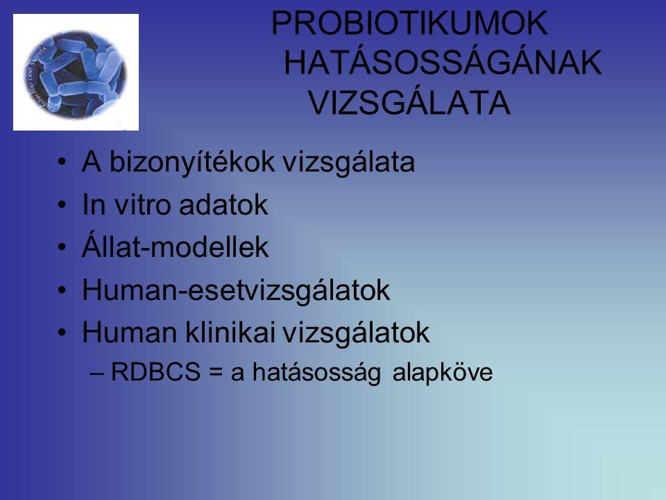 PROBIOTIKUMOK HATÁSOSSÁGÁNAK VIZSGÁLATA A bizonyítékok vizsgálata In vitro adatok Állat-modellek Human-esetvizsgálatok Human klinikai vizsgálatok –RDB