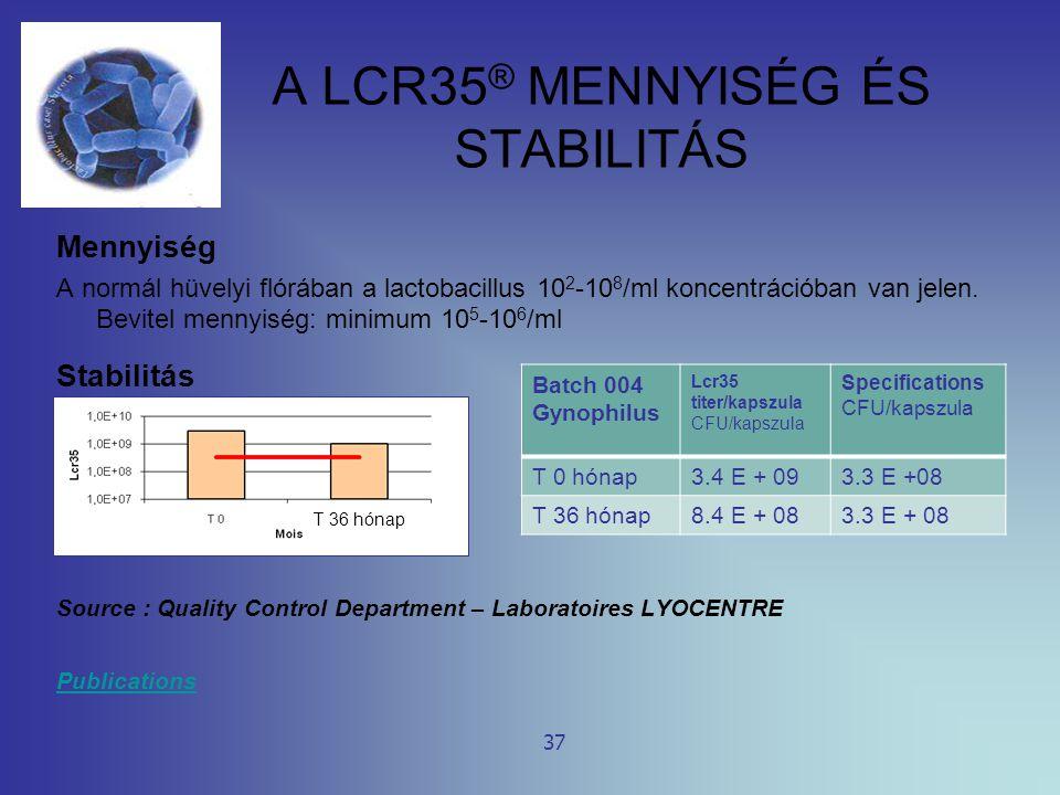 A LCR35 ® MENNYISÉG ÉS STABILITÁS Mennyiség A normál hüvelyi flórában a lactobacillus 10 2 -10 8 /ml koncentrációban van jelen. Bevitel mennyiség: min