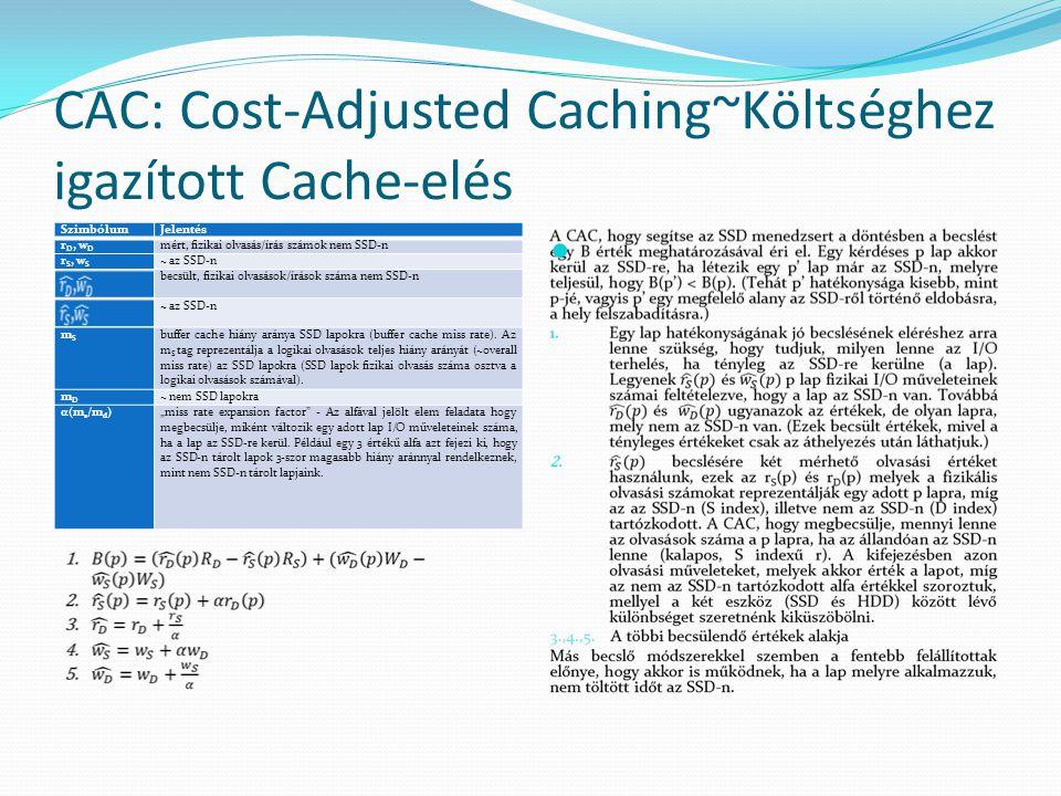 CAC: Cost-Adjusted Caching~Költséghez igazított Cache-elés SzimbólumJelentés rD, wDrD, wD mért, fizikai olvasás/írás számok nem SSD-n r S, w S ~ az SSD-n becsült, fizikai olvasások/írások száma nem SSD-n ~ az SSD-n mSmS buffer cache hiány aránya SSD lapokra (buffer cache miss rate).