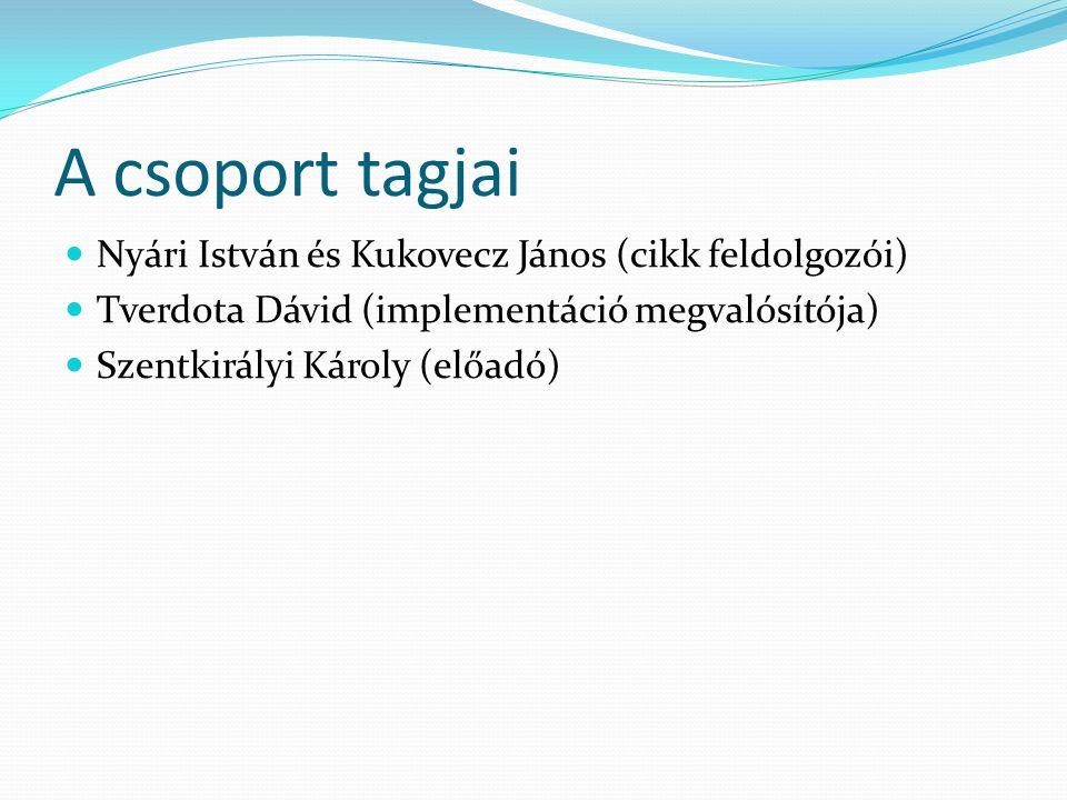 A csoport tagjai Nyári István és Kukovecz János (cikk feldolgozói) Tverdota Dávid (implementáció megvalósítója) Szentkirályi Károly (előadó)