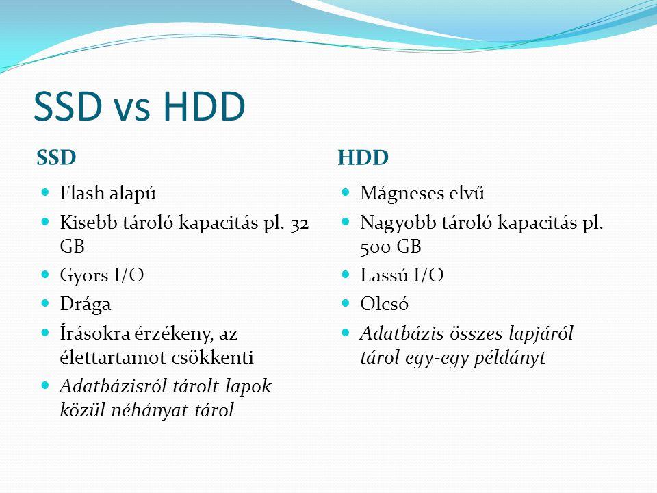 SSD vs HDD SSD HDD Flash alapú Kisebb tároló kapacitás pl.