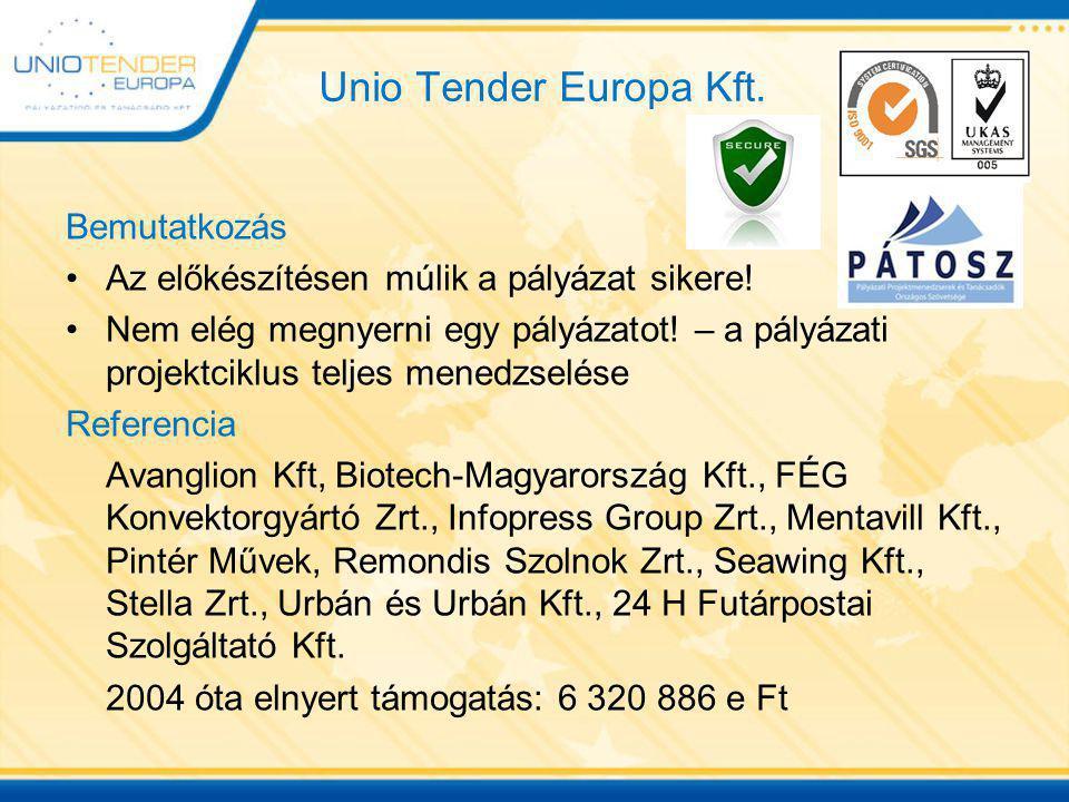 Unio Tender Europa Kft. Bemutatkozás Az előkészítésen múlik a pályázat sikere! Nem elég megnyerni egy pályázatot! – a pályázati projektciklus teljes m