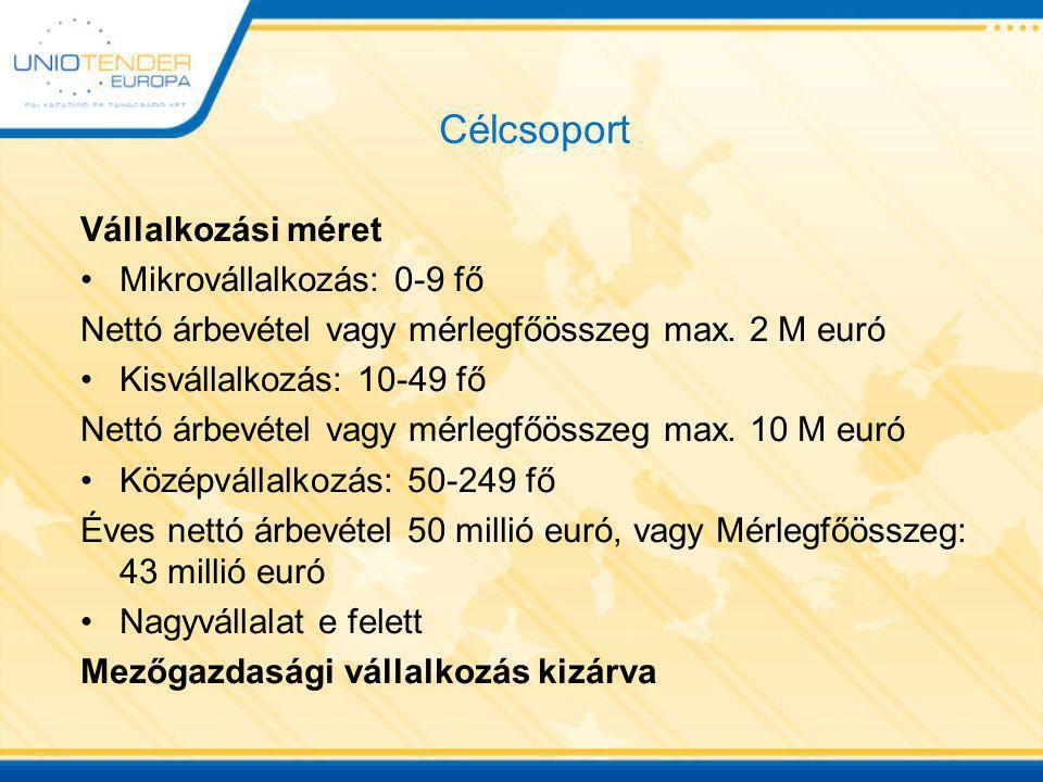 Célcsoport Vállalkozási méret Mikrovállalkozás: 0-9 fő Nettó árbevétel vagy mérlegfőösszeg max. 2 M euró Kisvállalkozás: 10-49 fő Nettó árbevétel vagy