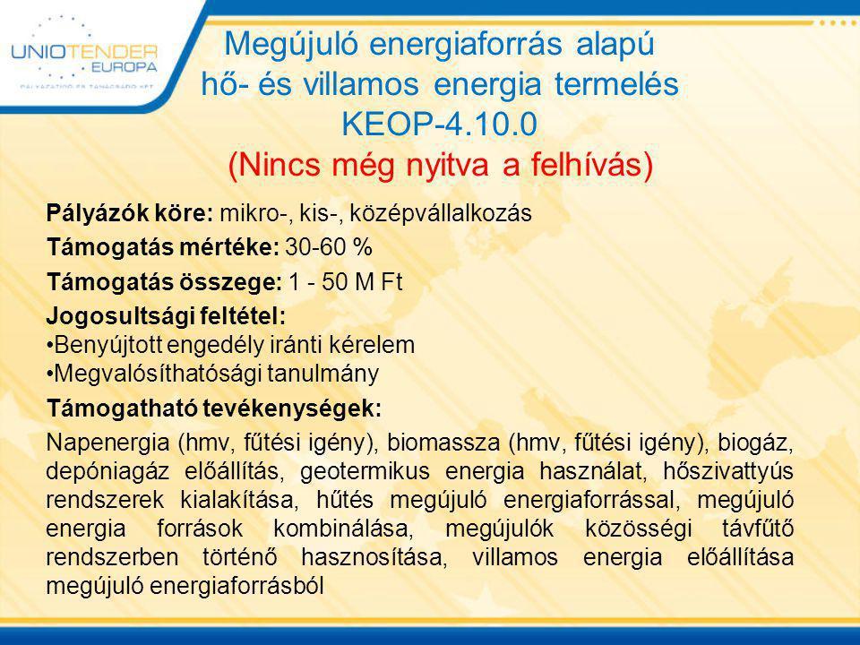 Megújuló energiaforrás alapú hő- és villamos energia termelés KEOP-4.10.0 (Nincs még nyitva a felhívás) Pályázók köre: mikro-, kis-, középvállalkozás