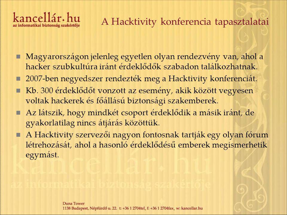 A Hacktivity konferencia tapasztalatai Magyarországon jelenleg egyetlen olyan rendezvény van, ahol a hacker szubkultúra iránt érdeklődők szabadon talá
