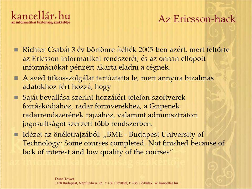 Az Ericsson-hack Richter Csabát 3 év börtönre ítélték 2005-ben azért, mert feltörte az Ericsson informatikai rendszerét, és az onnan ellopott informác