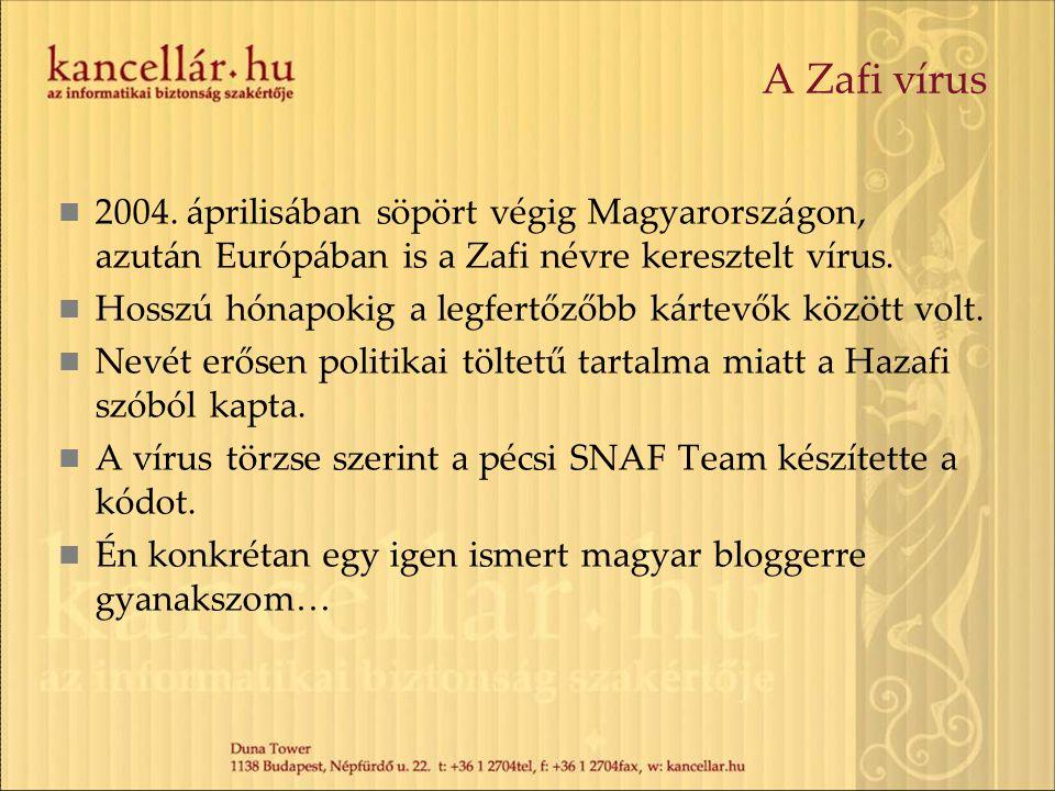 A Zafi vírus 2004. áprilisában söpört végig Magyarországon, azután Európában is a Zafi névre keresztelt vírus. Hosszú hónapokig a legfertőzőbb kártevő
