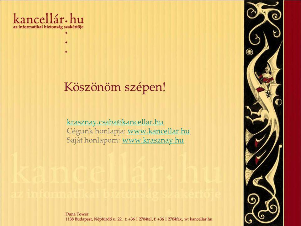 Köszönöm szépen! krasznay.csaba@kancellar.hu Cégünk honlapja: www.kancellar.huwww.kancellar.hu Saját honlapom: www.krasznay.huwww.krasznay.hu