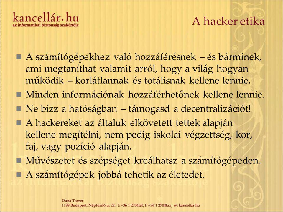 A hacker etika A számítógépekhez való hozzáférésnek – és bárminek, ami megtaníthat valamit arról, hogy a világ hogyan működik – korlátlannak és totáli