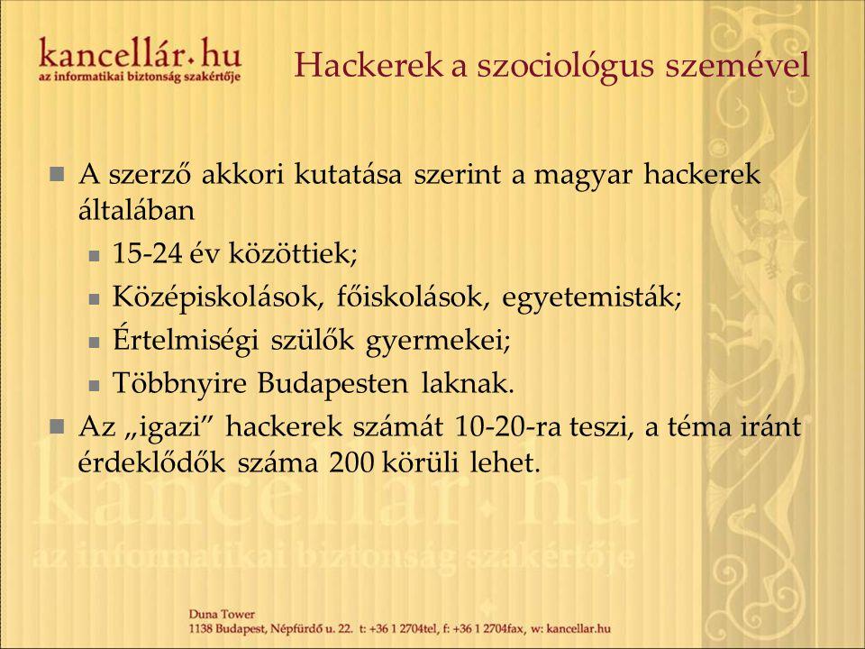 Hackerek a szociológus szemével A szerző akkori kutatása szerint a magyar hackerek általában 15-24 év közöttiek; Középiskolások, főiskolások, egyetemi