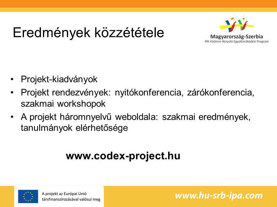 Eredmények közzététele Projekt-kiadványok Projekt rendezvények: nyitókonferencia, zárókonferencia, szakmai workshopok A projekt háromnyelvű weboldala: szakmai eredmények, tanulmányok elérhetősége www.codex-project.hu