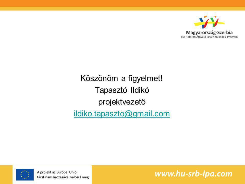 Köszönöm a figyelmet! Tapasztó Ildikó projektvezető ildiko.tapaszto@gmail.com