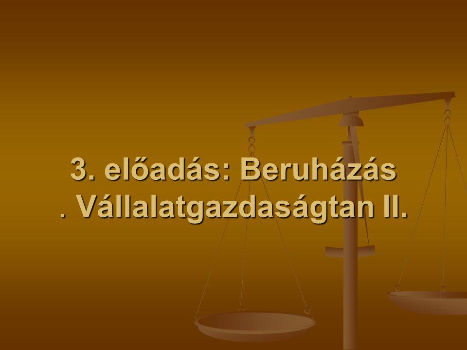 3. előadás: Beruházás. Vállalatgazdaságtan II.