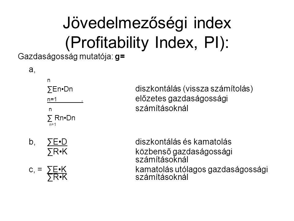 Jövedelmezőségi index (Profitability Index, PI): Gazdaságosság mutatója: g= a, n ∑EnDn diszkontálás (vissza számítolás) n=1.
